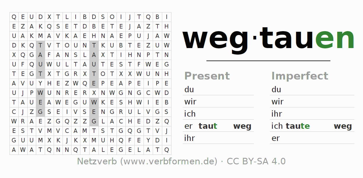Word search puzzle for the conjugation of the verb wegtauen (hat)