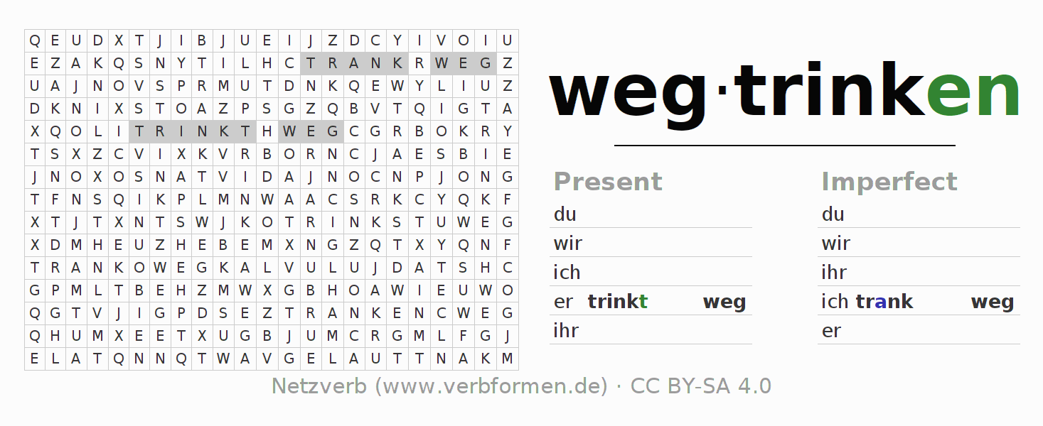 Word search puzzle for the conjugation of the verb wegtrinken