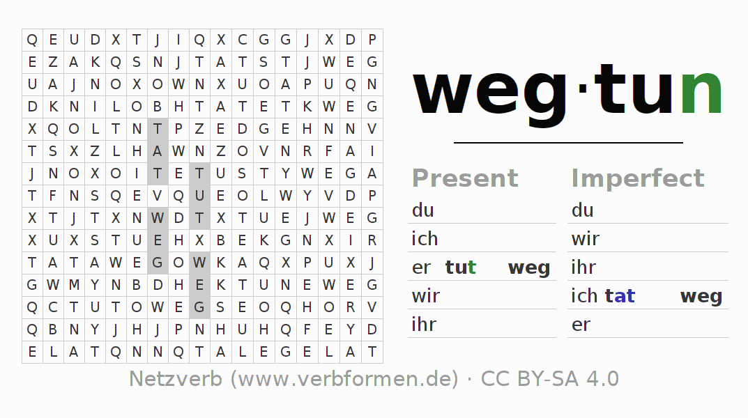 Word search puzzle for the conjugation of the verb wegtun