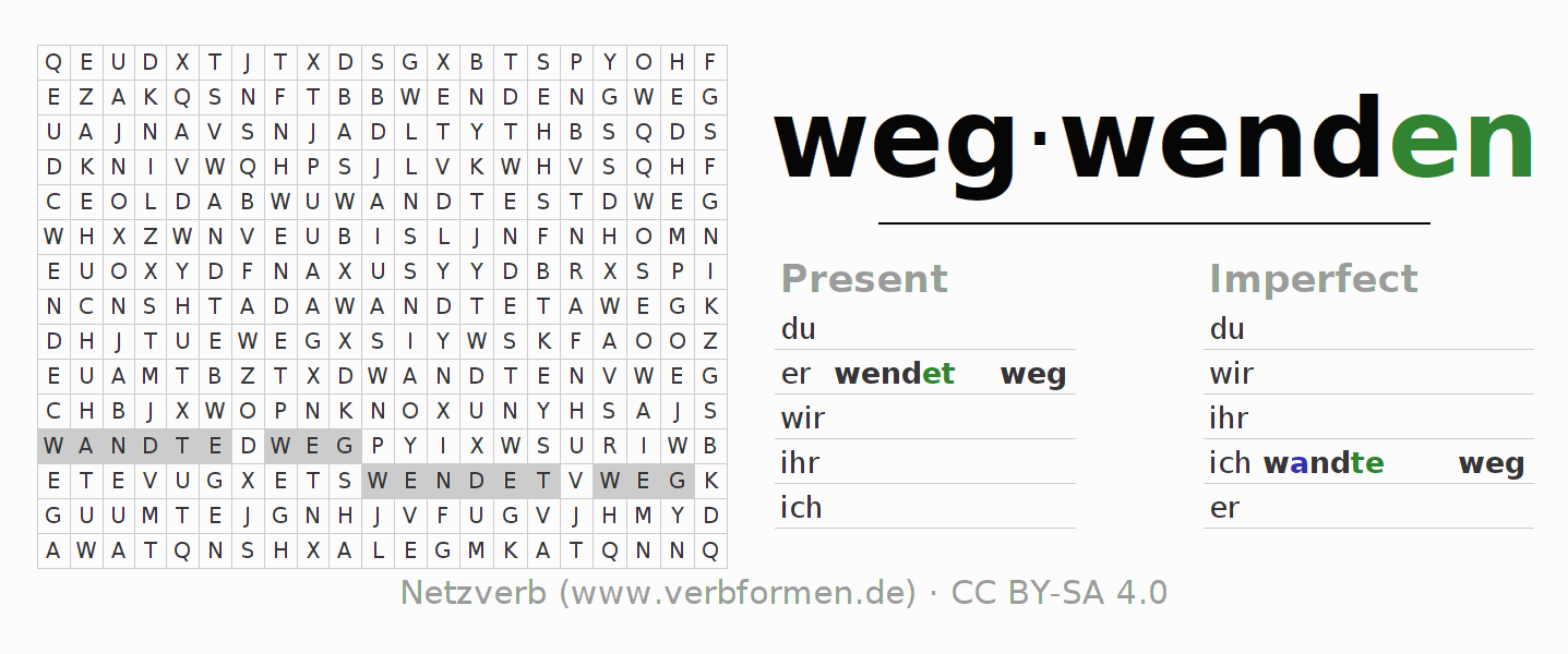 Word search puzzle for the conjugation of the verb wegwenden (unr)