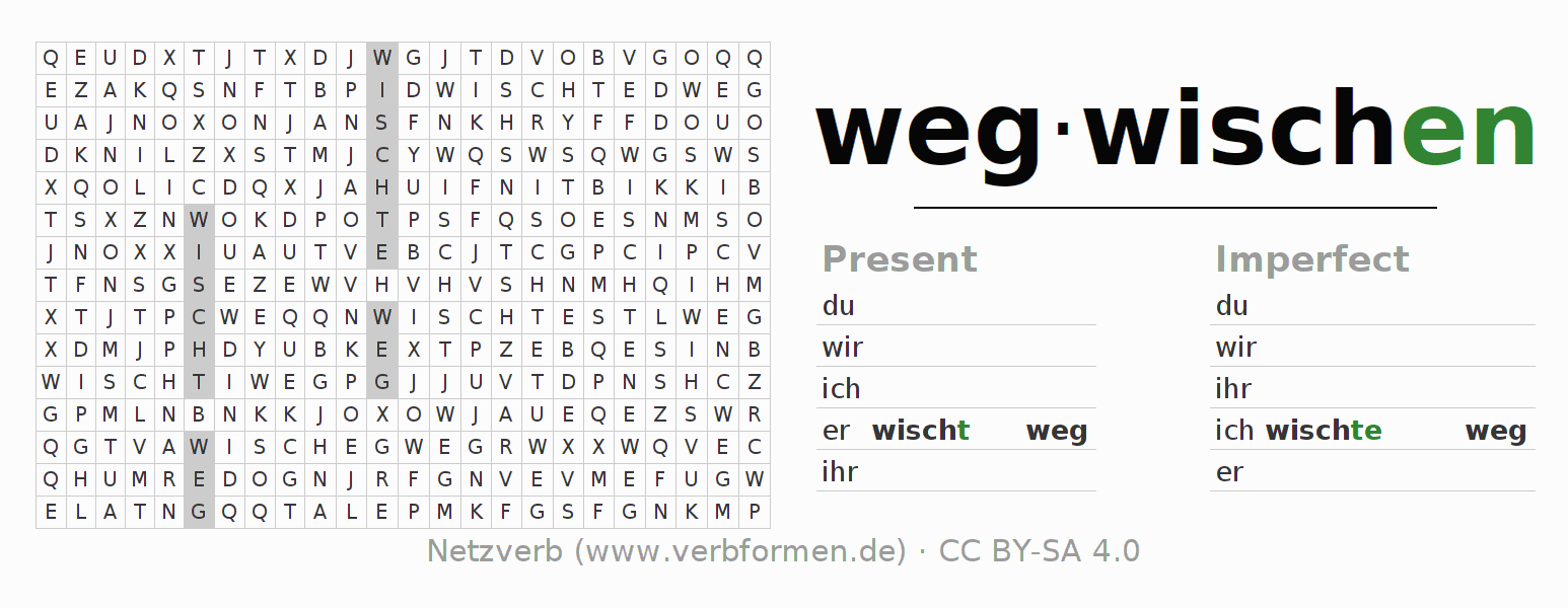 Word search puzzle for the conjugation of the verb wegwischen (hat)