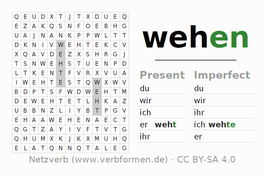 Word search puzzle for the conjugation of the verb wehen (hat)