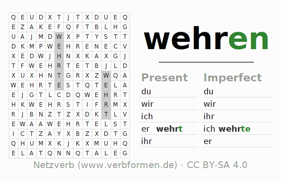 Word search puzzle for the conjugation of the verb wehren