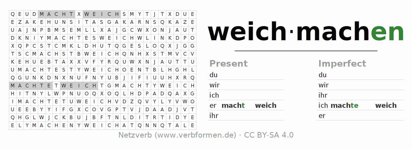 Word search puzzle for the conjugation of the verb weichmachen