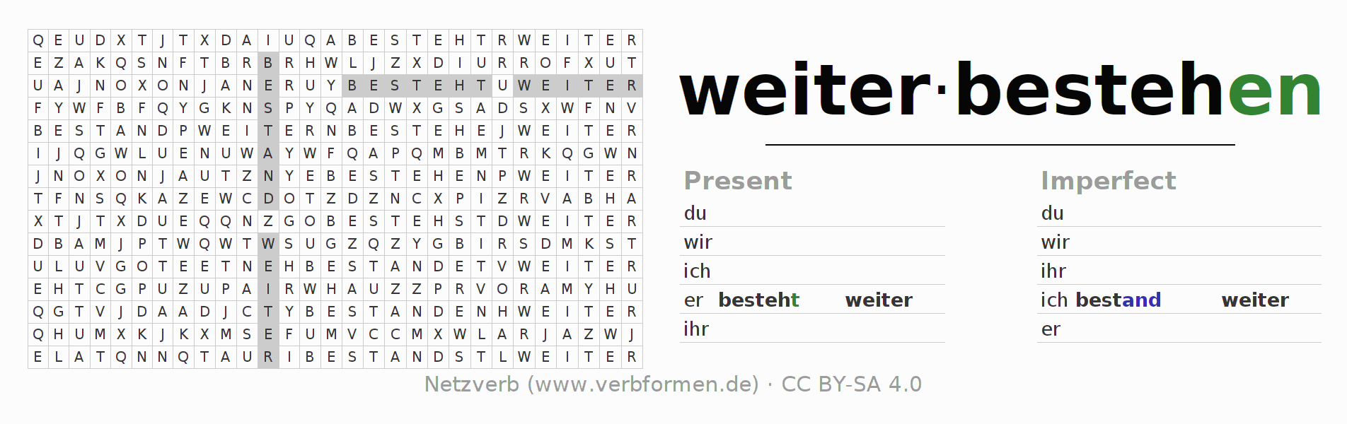 Word search puzzle for the conjugation of the verb weiterbestehen
