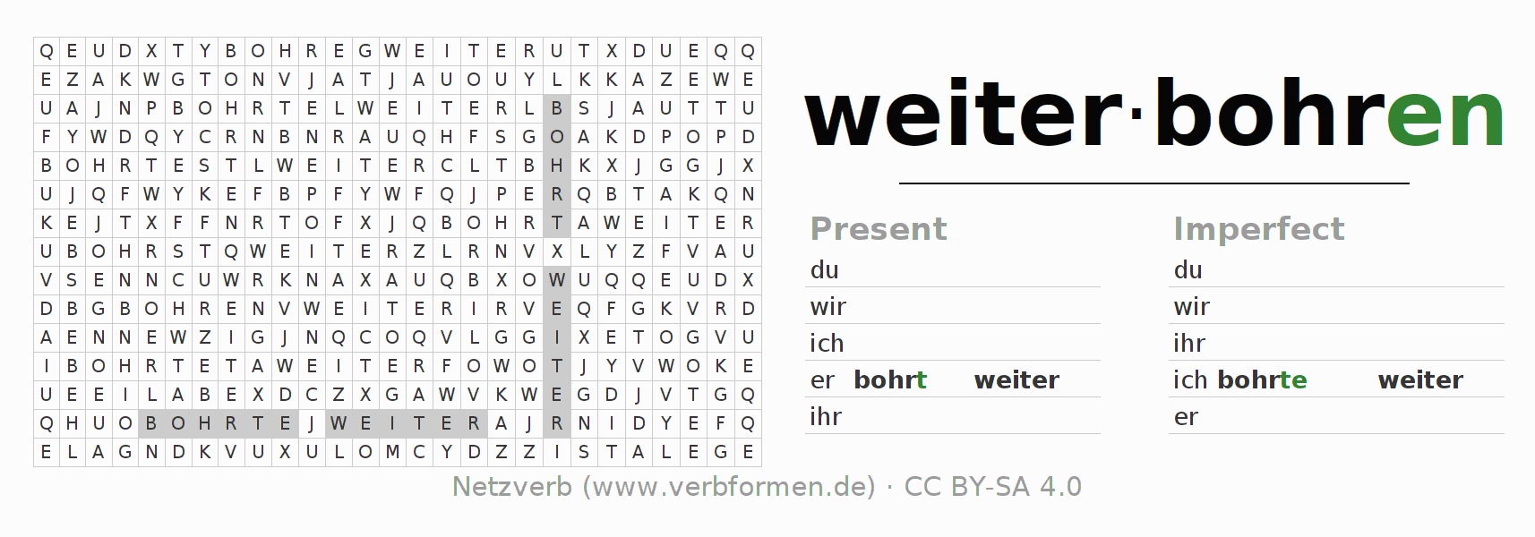Word search puzzle for the conjugation of the verb weiterbohren