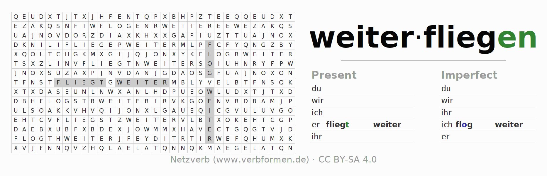 Word search puzzle for the conjugation of the verb weiterfliegen