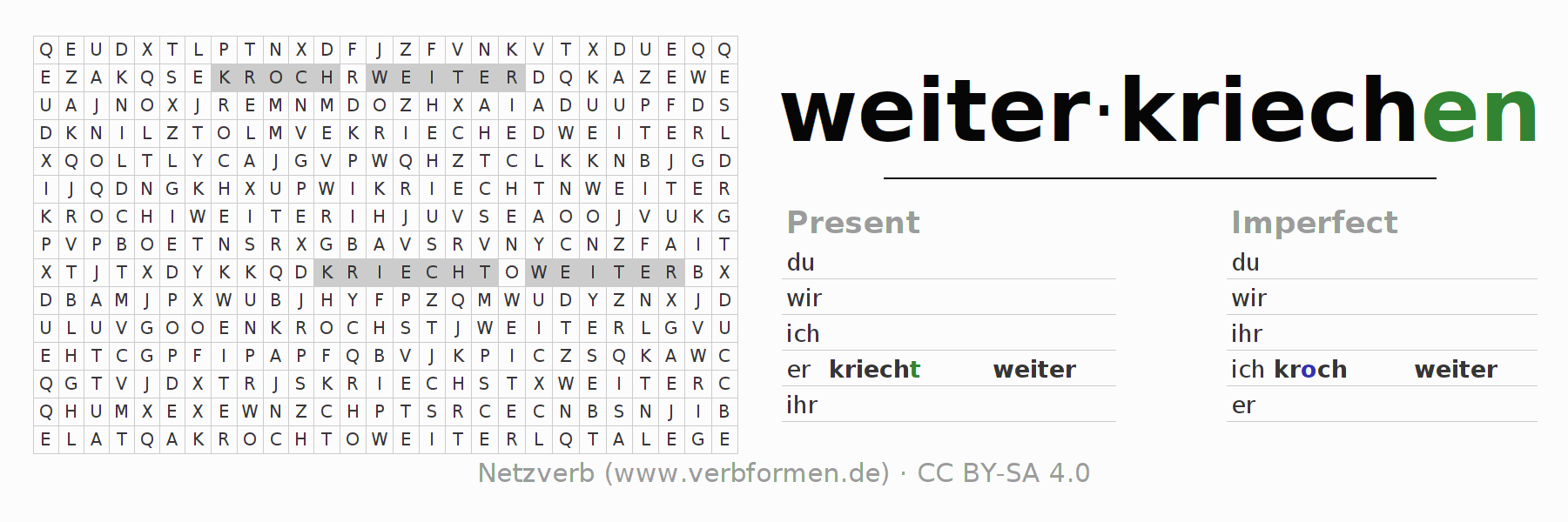 Word search puzzle for the conjugation of the verb weiterkriechen