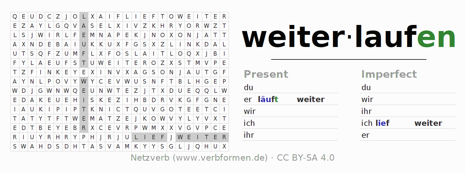 Word search puzzle for the conjugation of the verb weiterlaufen