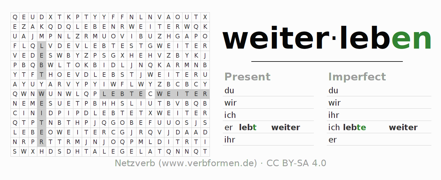 Word search puzzle for the conjugation of the verb weiterleben