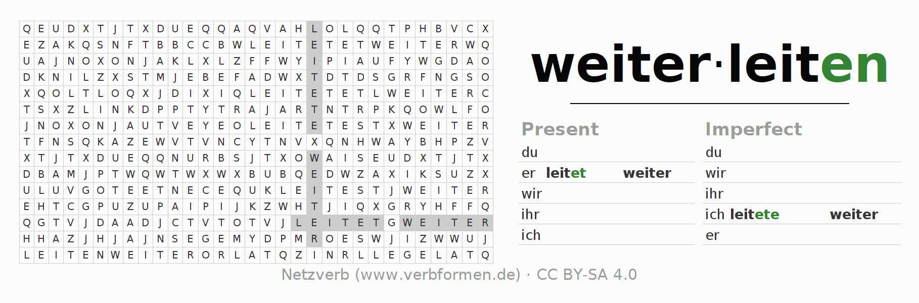 Word search puzzle for the conjugation of the verb weiterleiten