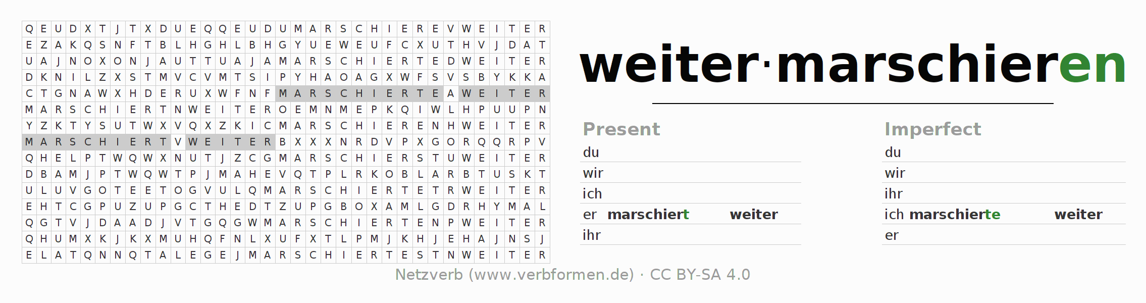 Word search puzzle for the conjugation of the verb weitermarschieren