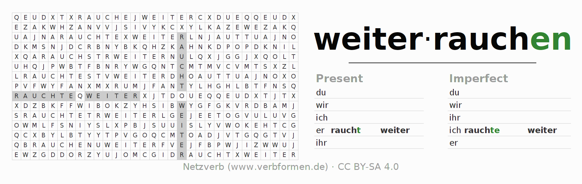 Word search puzzle for the conjugation of the verb weiterrauchen