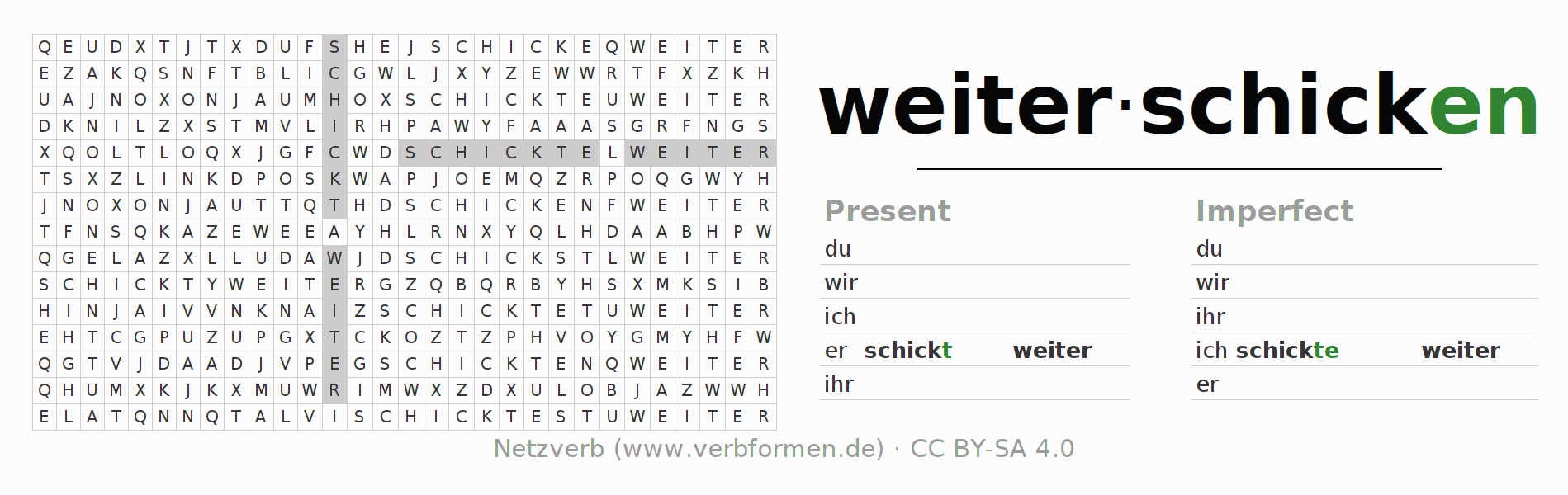 Word search puzzle for the conjugation of the verb weiterschicken