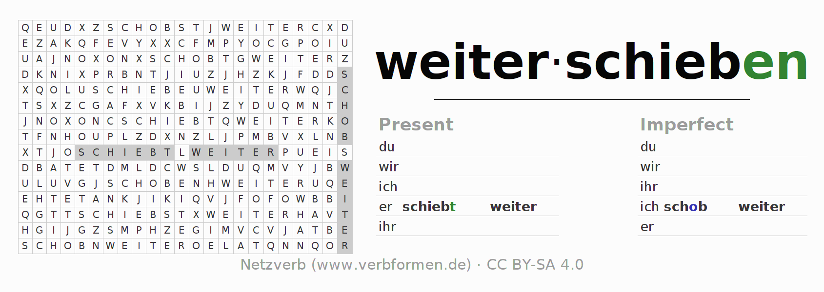 Word search puzzle for the conjugation of the verb weiterschieben