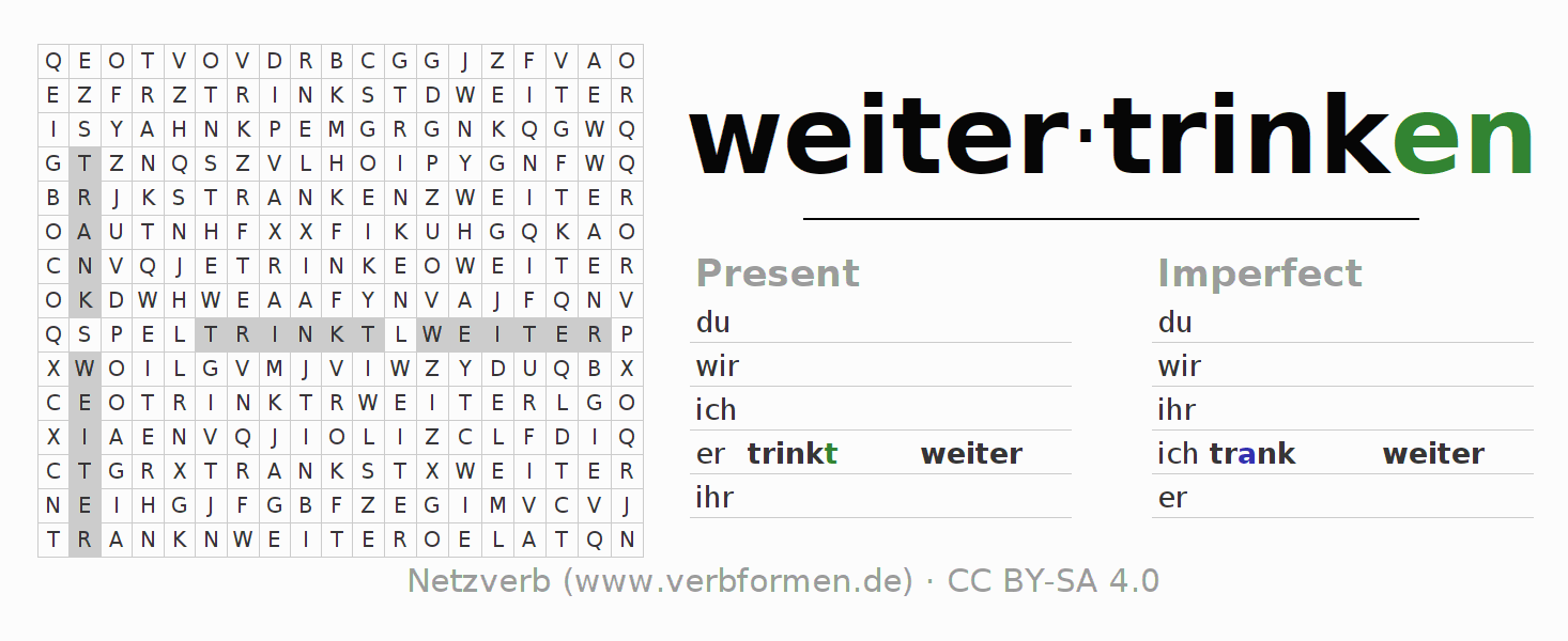 Word search puzzle for the conjugation of the verb weitertrinken