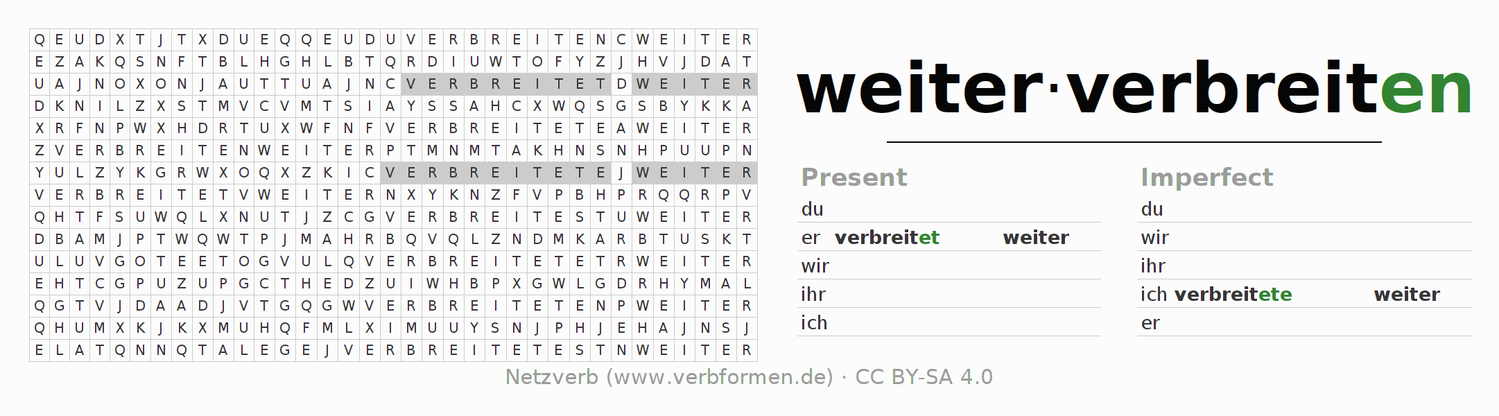 Word search puzzle for the conjugation of the verb weiterverbreiten