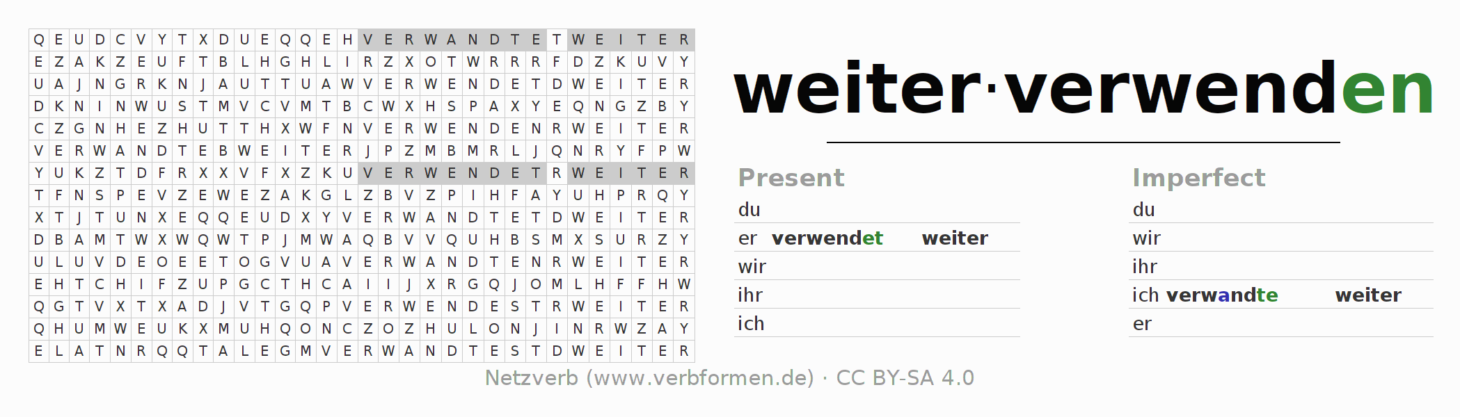 Word search puzzle for the conjugation of the verb weiterverwenden