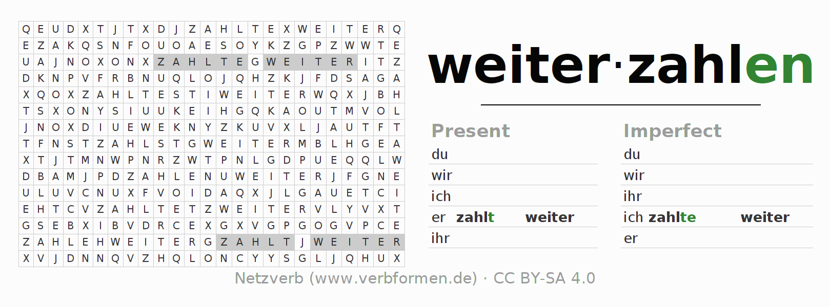 Word search puzzle for the conjugation of the verb weiterzahlen