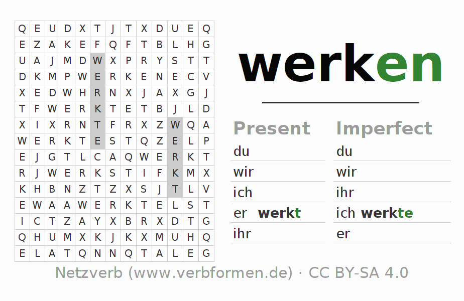 Word search puzzle for the conjugation of the verb werken