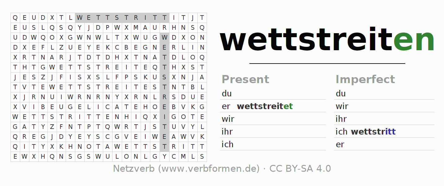 Word search puzzle for the conjugation of the verb wettstreiten (hat)