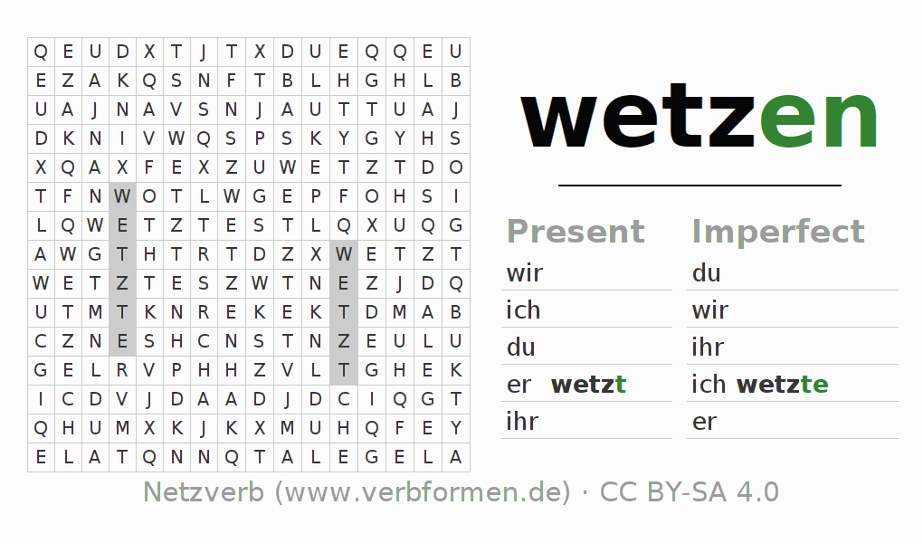 Word search puzzle for the conjugation of the verb wetzen (hat)