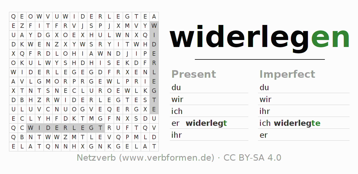 Word search puzzle for the conjugation of the verb widerlegen