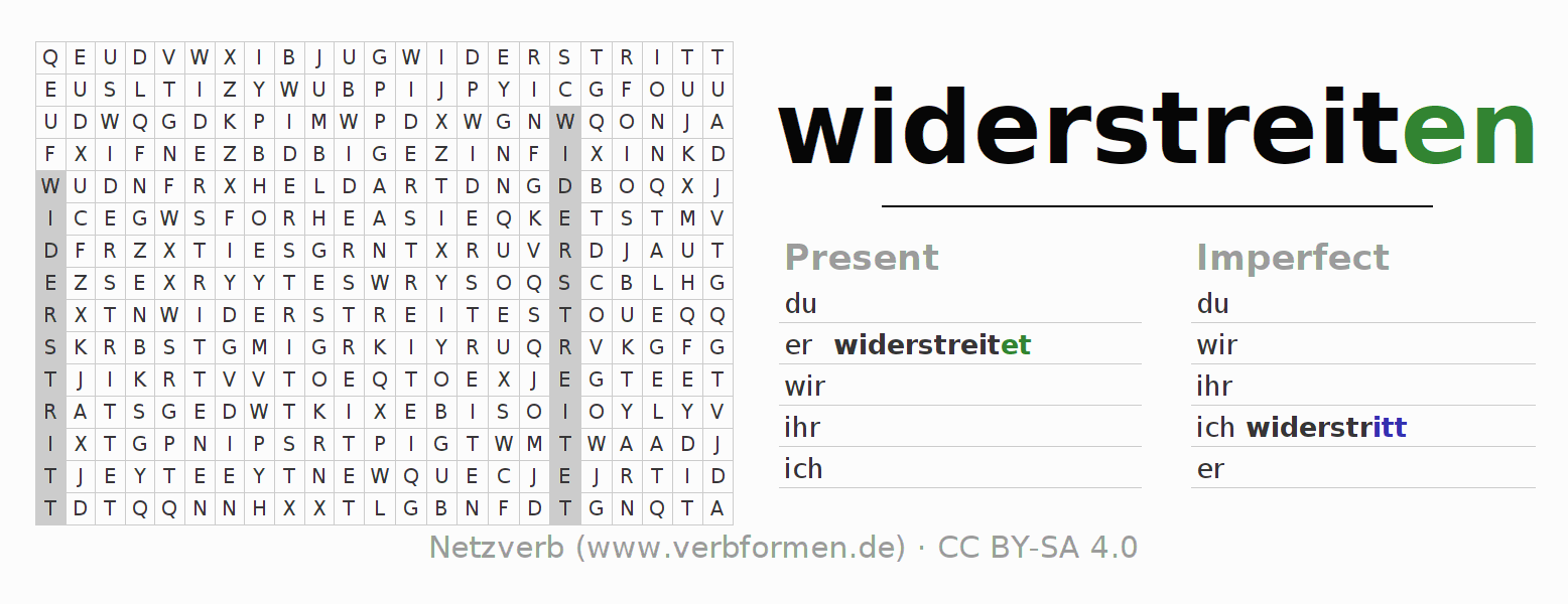 Word search puzzle for the conjugation of the verb widerstreiten