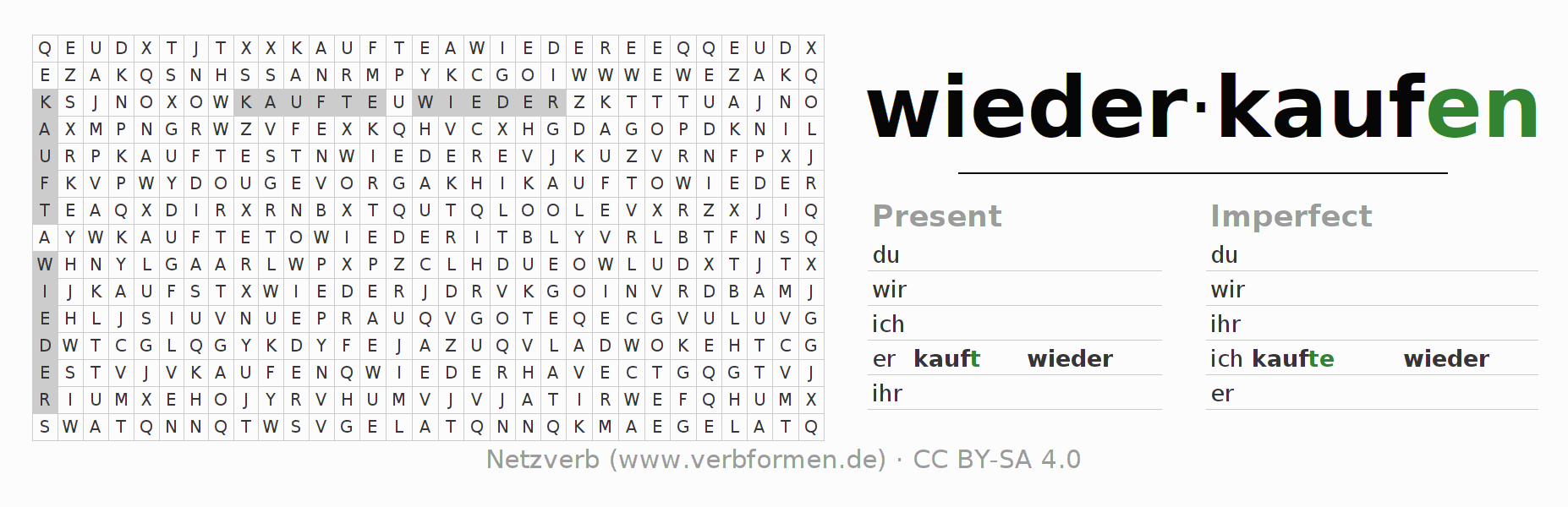 Word search puzzle for the conjugation of the verb wiederkaufen