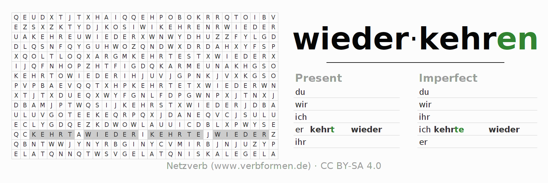 Word search puzzle for the conjugation of the verb wiederkehren