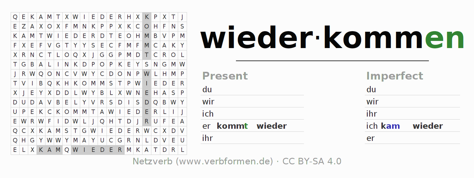 Word search puzzle for the conjugation of the verb wiederkommen