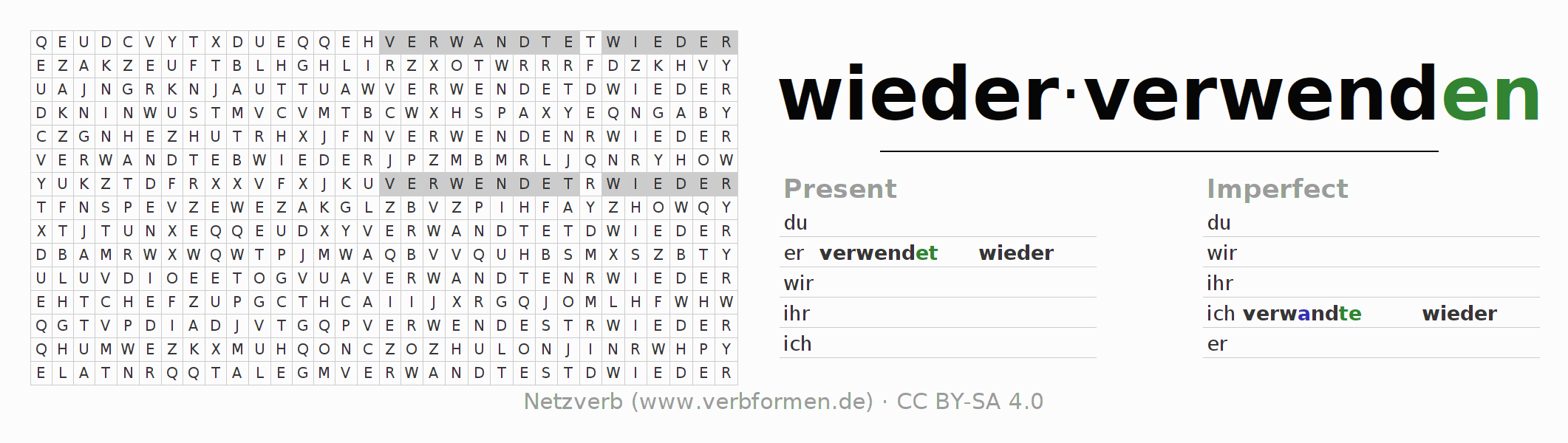 Word search puzzle for the conjugation of the verb wiederverwenden (unr)