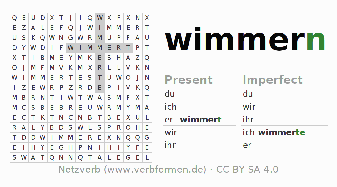 Word search puzzle for the conjugation of the verb wimmern