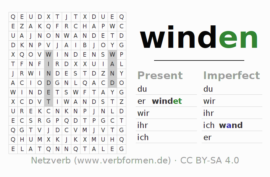 Word search puzzle for the conjugation of the verb winden (unr)