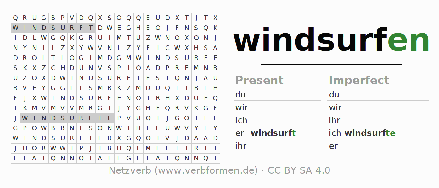 Word search puzzle for the conjugation of the verb windsurfen (hat)