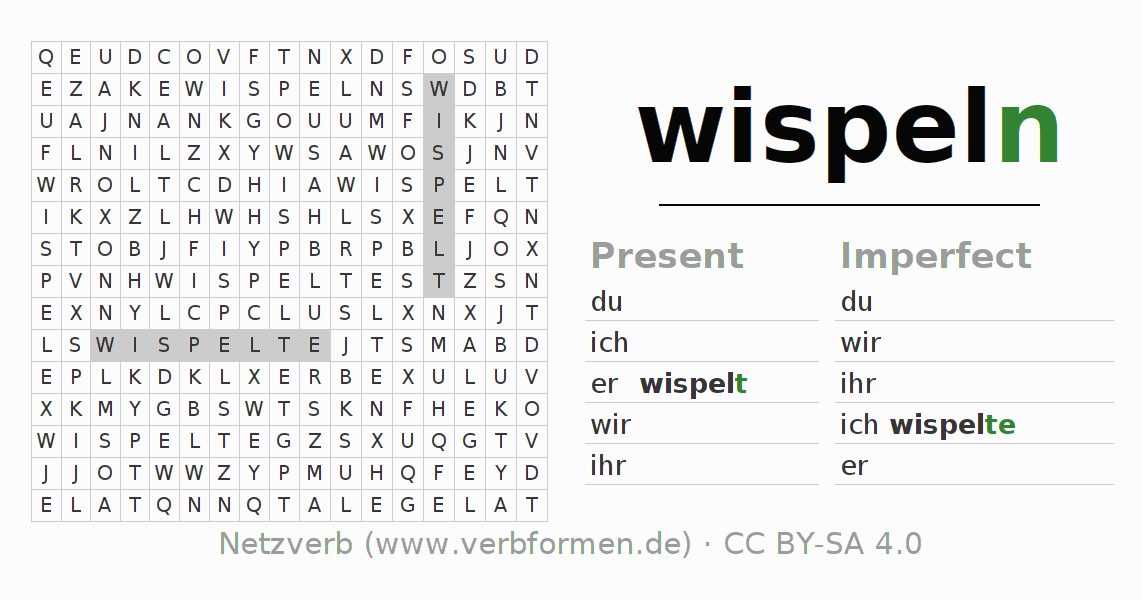 Word search puzzle for the conjugation of the verb wispeln