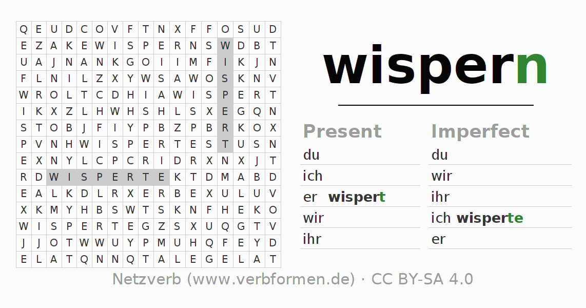 Word search puzzle for the conjugation of the verb wispern