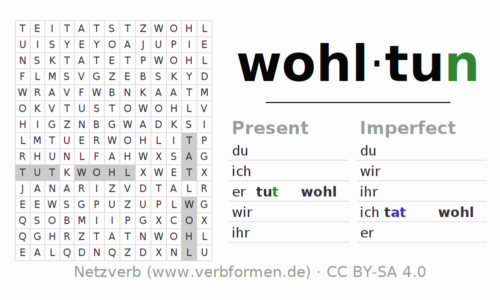 Word search puzzle for the conjugation of the verb wohltun