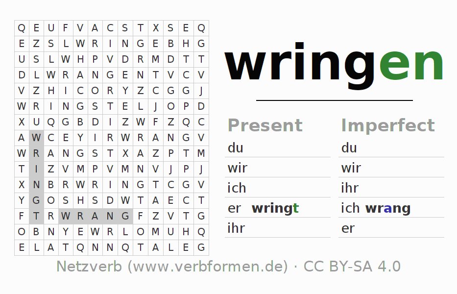 Word search puzzle for the conjugation of the verb wringen