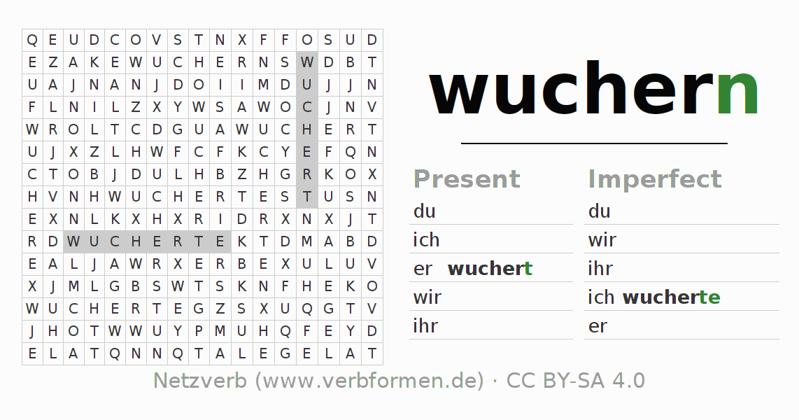 Word search puzzle for the conjugation of the verb wuchern (hat)