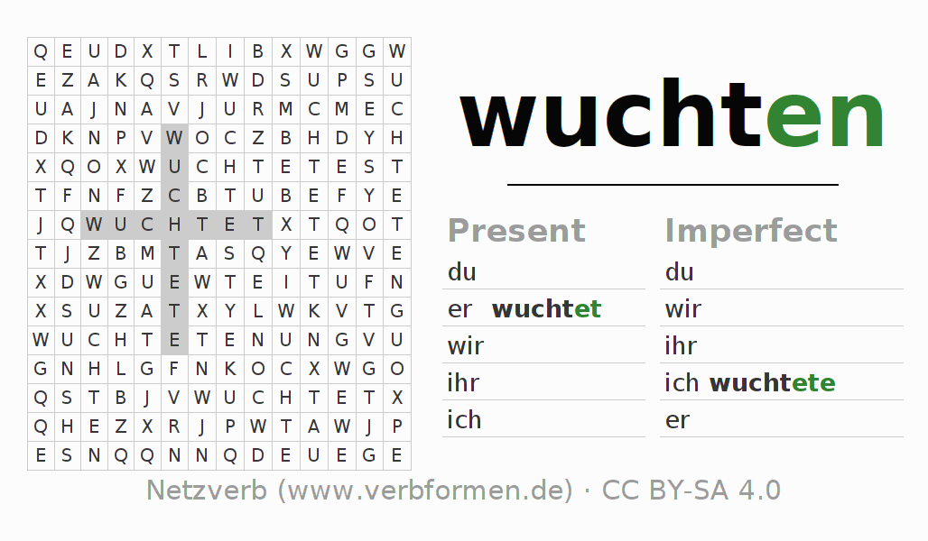 Word search puzzle for the conjugation of the verb wuchten (hat)
