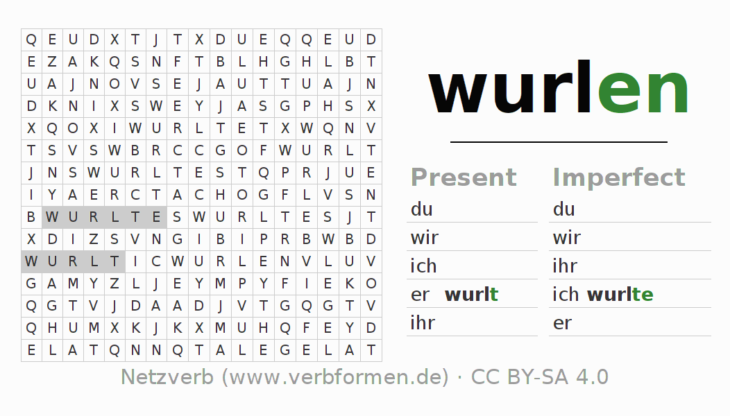Word search puzzle for the conjugation of the verb wurlen (hat)