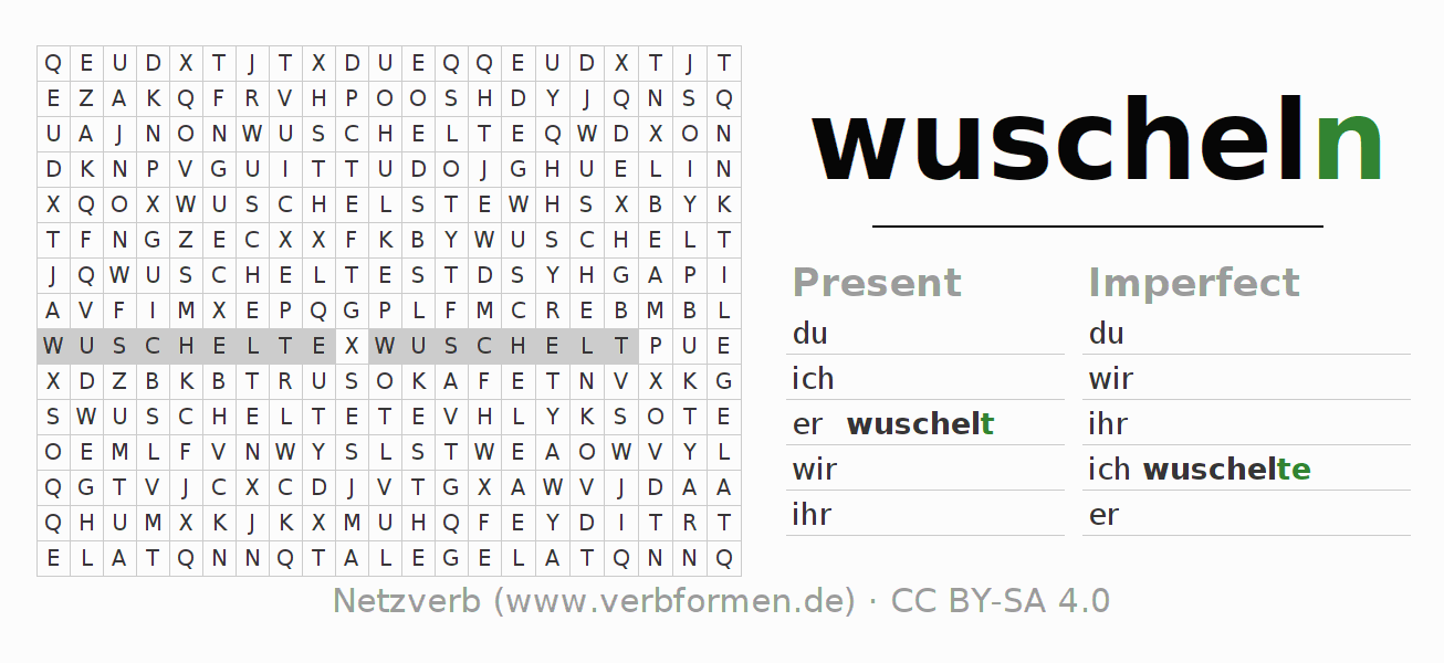 Word search puzzle for the conjugation of the verb wuscheln