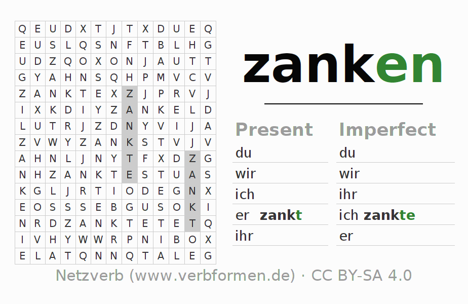 Word search puzzle for the conjugation of the verb zanken