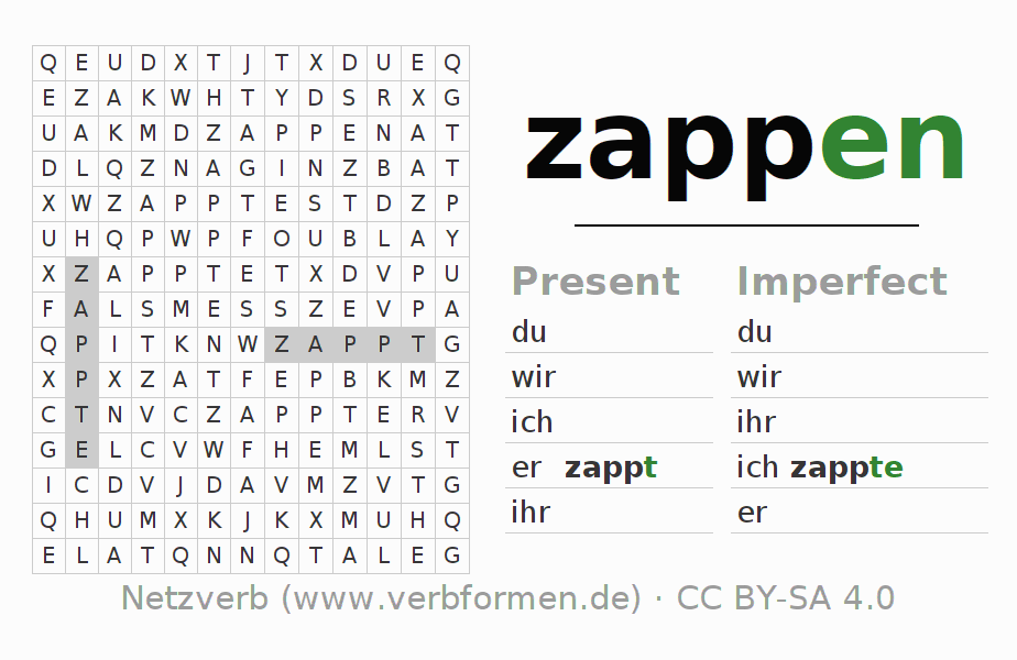 Word search puzzle for the conjugation of the verb zappen