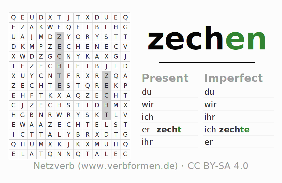 Word search puzzle for the conjugation of the verb zechen