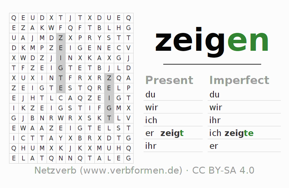 Word search puzzle for the conjugation of the verb zeigen