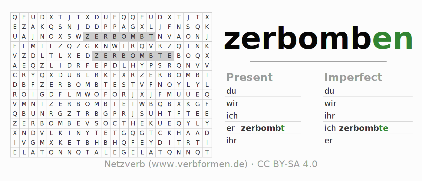 Word search puzzle for the conjugation of the verb zerbomben