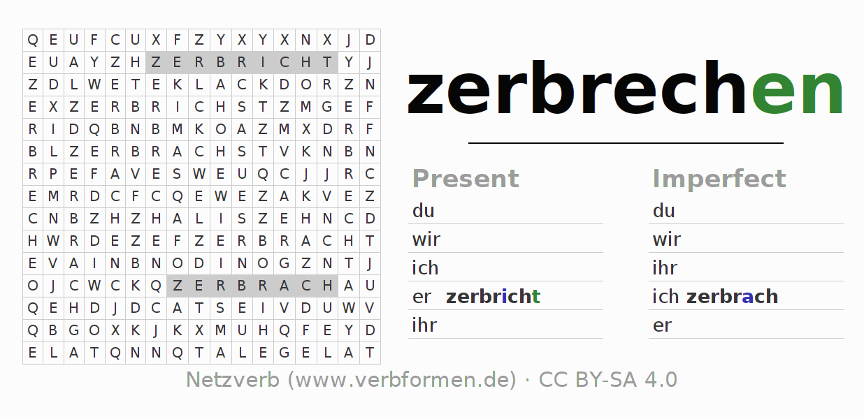 Word search puzzle for the conjugation of the verb zerbrechen (hat)