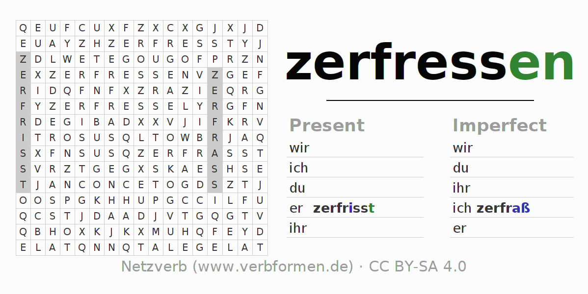 Word search puzzle for the conjugation of the verb zerfressen